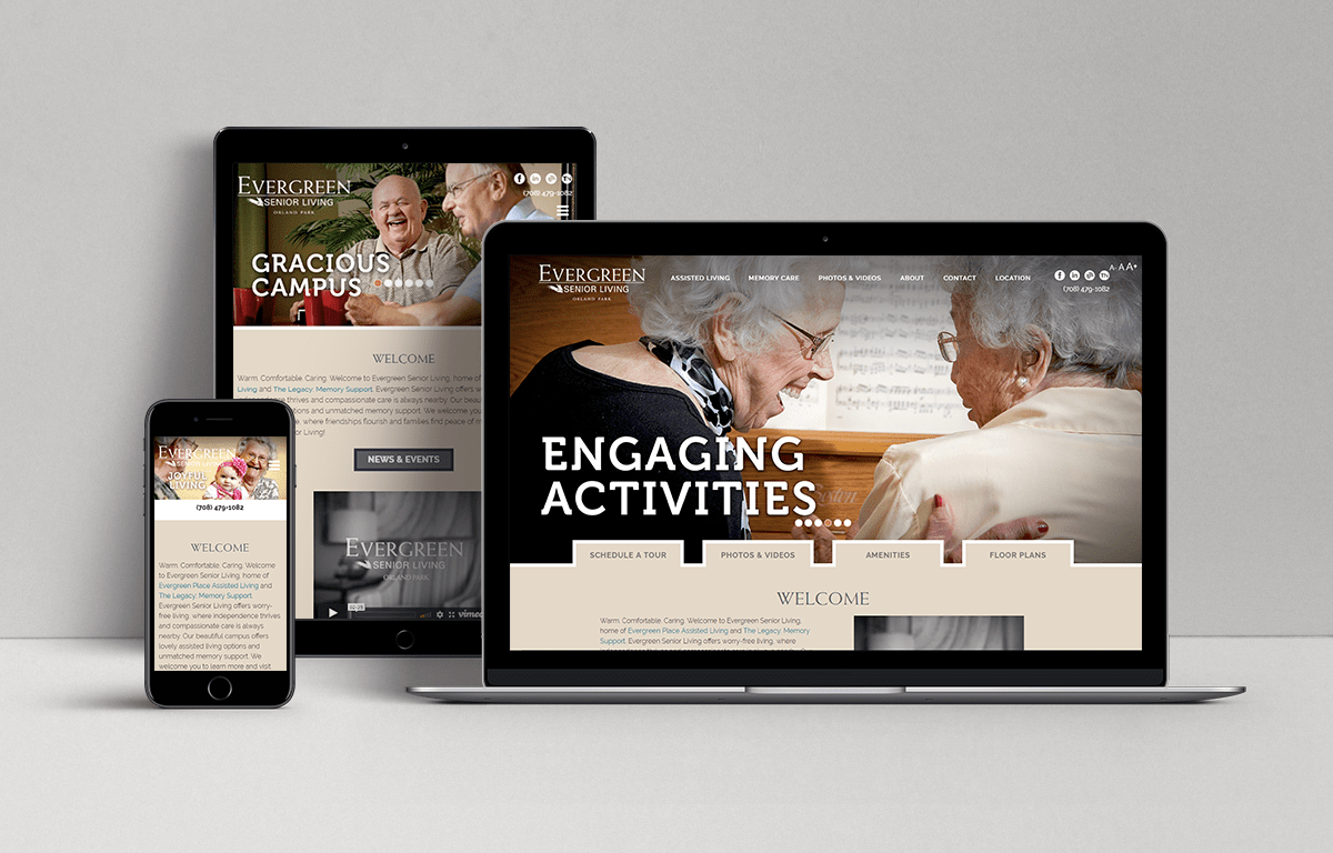 Evergreen Senior Living in Orland Park Impressive Web Design
